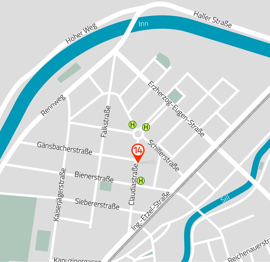 Wegspinne zur Wegbeschreibung und Erreichbarkeit des Instituts per Auto oder öffentlicher Verkehrsmittel. Grafik: Birgit Raitmayr | pixlerei.at
